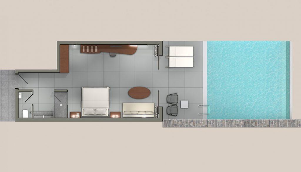 bungalow deluxe bleu profond en bord de mer avec piscine